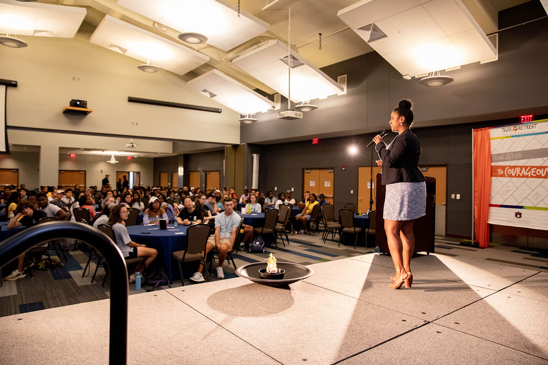 Ada Wilson giving a presentation to a group of students at the Tiger Retreat event in 2019